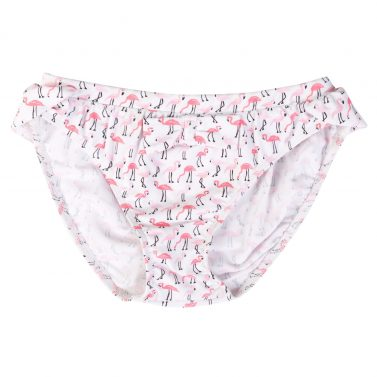 Petit Crabe flamingo Zoe bikini bottoms with cute bow on the front. UV sun protective swimwear for kids.