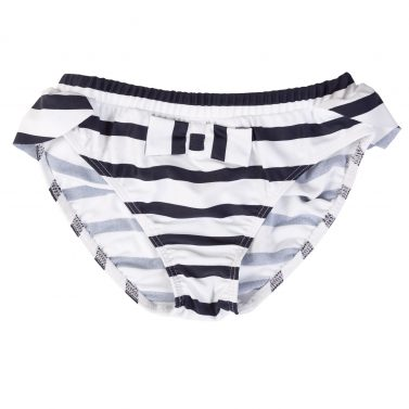 Petit Crabe white and blue Zoe bikini bottoms with cute bow on the front. UV sun protective swimwear for kids.