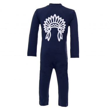 Petit Crabe blue Lou sunsuit with chief application on the back. UV sun protective swimwear for kids.