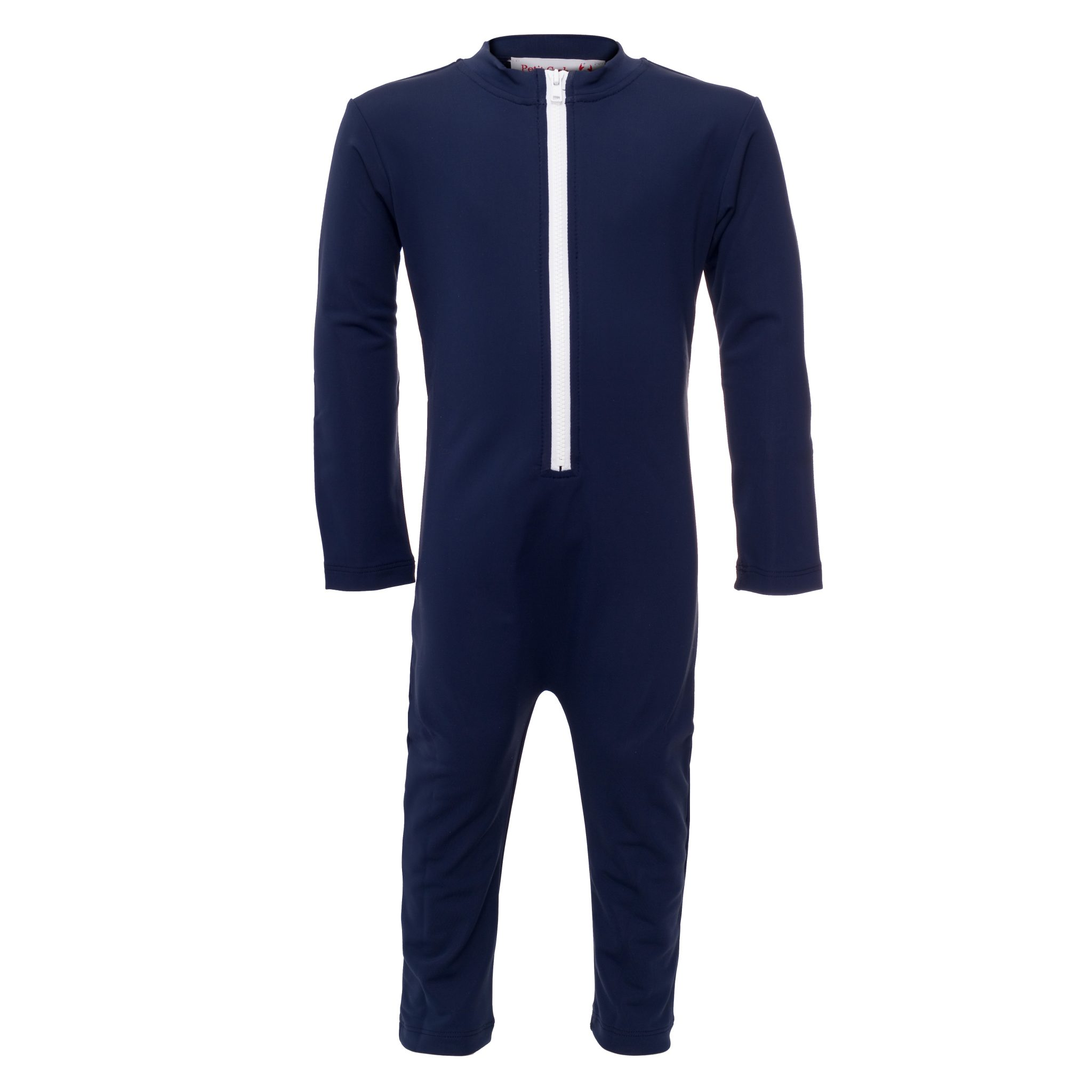Petit Crabe dark blue Lou CHIEF sunsuit with zipper and long sleeves. UV sun protective swimwear for kids.