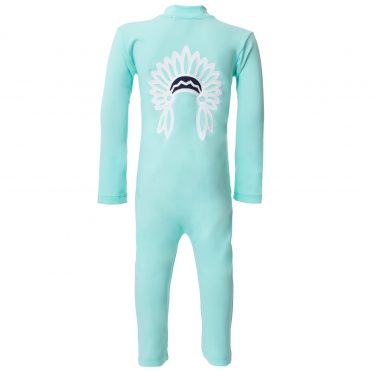 Petit Crabe mint Lou sunsuit with chief application on the back. UV sun protective swimwear for kids.