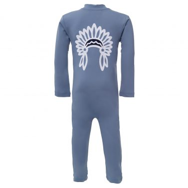 Petit Crabe petrol blue Lou sunsuit with chief application on the back. UV sun protective swimwear for kids.