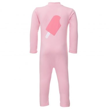 Petit Crabe soft rose Lou sunsuit with ice cream application on the back. UV sun protective swimwear for kids.