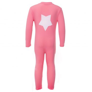 Petit Crabe watermelon-pink Lou sunsuit with star application on the back. UV sun protective swimwear for kids.
