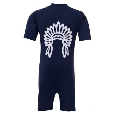 Petit Crabe blue Noe UV sunsuit with chief application. UV sun protective swimwear for kids.