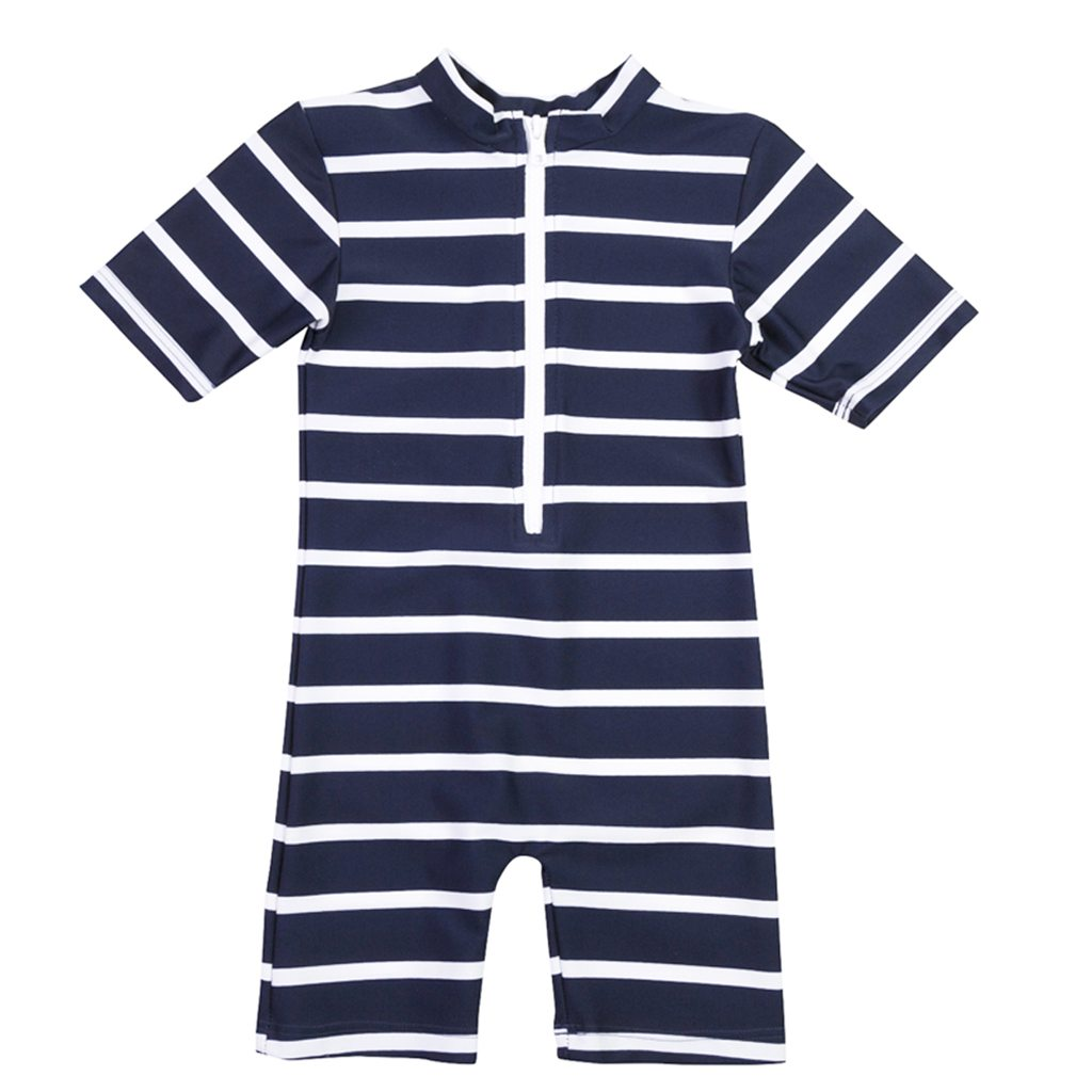 Petit Crabe blue and white striped Natsu sunsuit with zipper. UV sun protective swimwear for children.