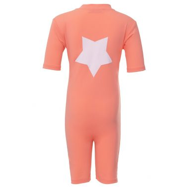 Petit Crabe Noe sunsuit in coral with star application. UV sun-protective swimwear for kids.