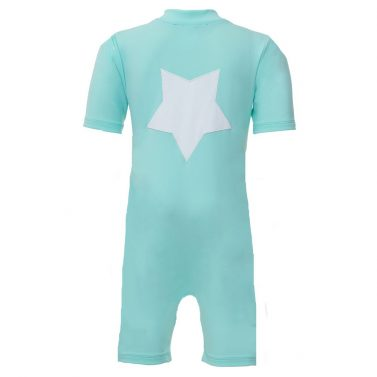Petit Crabe Noe sunsuit in mint with star application. UV sun-protective swimwear for kids.