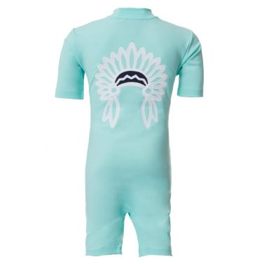 Petit Crabe mint Noe UV sunsuit with chief application. UPF 50+ sun protective swimwear for kids.