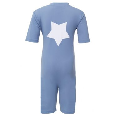 Petit Crabe Noe sunsuit in petrol blue with star application. UV sun-protective swimwear for kids.