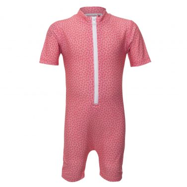 Petit Crabe pink flower Natsu sunsuit with zipper. UV sun protective swimwear for children.