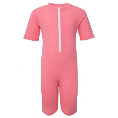 Petit Crabe Noe watermelon icecream sunsuit with zipper, short sleeves and legs. UV sun protective swimwear for kids.