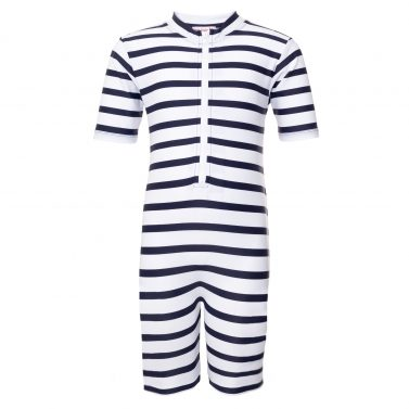 Petit Crabe classic white and blue striped Natsu sunsuit for kids, sun protective swimwear