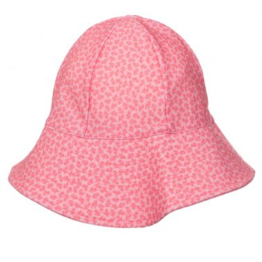 Petit Crabe pink flower Frey sun hat for girls. UV sun protective swimwear for children.