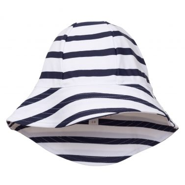 Petit Crabe white and blue Frey sun hat for girls and boys. UV sun protective swimwear.