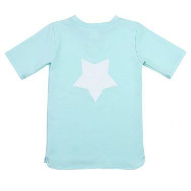 Petit Crabe sky blue Hugo rash guard with star application on the back. UV sun protective swimwear for children.
