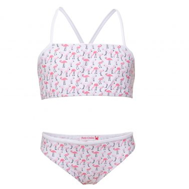 Petit Crabe flamingo Louise bikini with decorative ribbon on top. UV sun protective swimwear for kids.