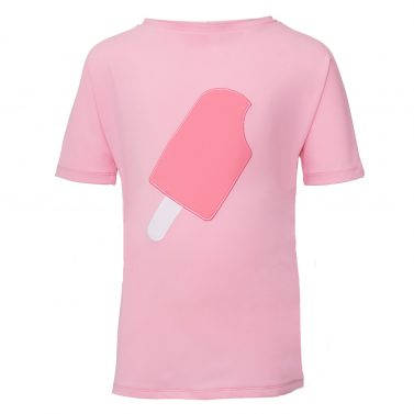 Petit Crabe blue soft rose boatneck rash guard with ice cream application on the front. UV sun protective swimwear for kids.