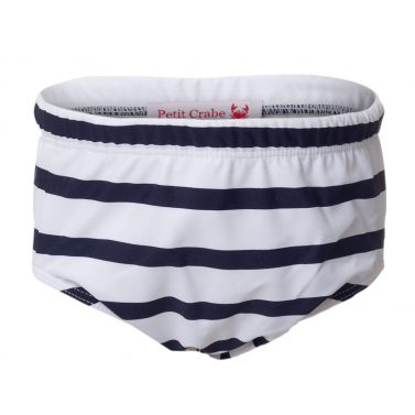 Petit Crabe white and blue striped Leo swim diaper for baby boys. UV sun protective swimwear for kids.