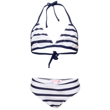Petit Crabe white and blue striped triangle bikini for girls. UV sun protective swimwear for kids.
