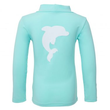 Petit Crabe mint Casey turtleneck rash guard with dolphin application on the back. UV swimwear for kids.