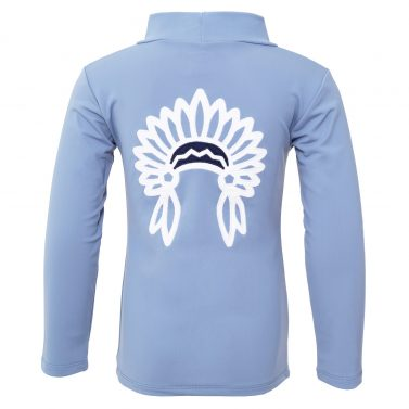 Petit Crabe petrol blue Casey CHIEF turtleneck rash guard. UV sun protective swimwear for kids.