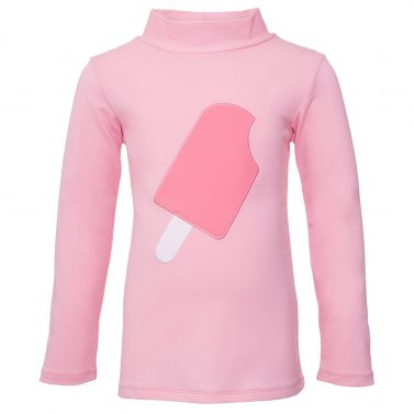 Petit Crabe soft rose Casey turtleneck rash guard with ice cream application on the front. UV swimwear for kids.
