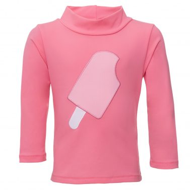 Petit Crabe Casey rash guard in watermelon, with Ice Cream application on the back. UV sun protective clothing.
