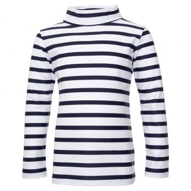 Petit Crabe white and blue striped Casey turtleneck swim shirt with long sleeves. UV sun protective swimwear for kids.