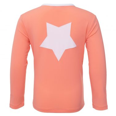 Petit Crabe coral Etoile Zipper swim shirt with star application on the back. UV sun protective swimwear for kids.