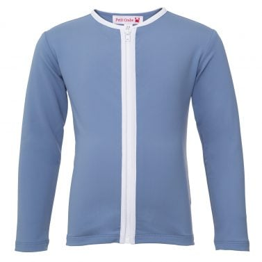 Petit Crabe petrol blue Etoile zipper rash guard with long sleeves and zipper. UV sun protective swimwear for kids.