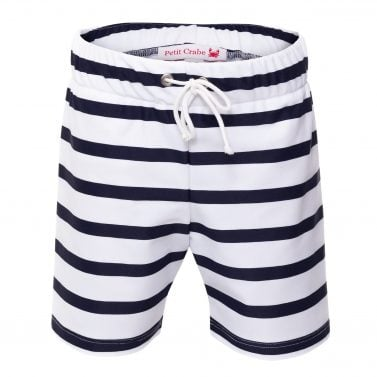 Petit Crabe white and blue striped Alex swim trunks for boys. UV sun protective swimwear for children.