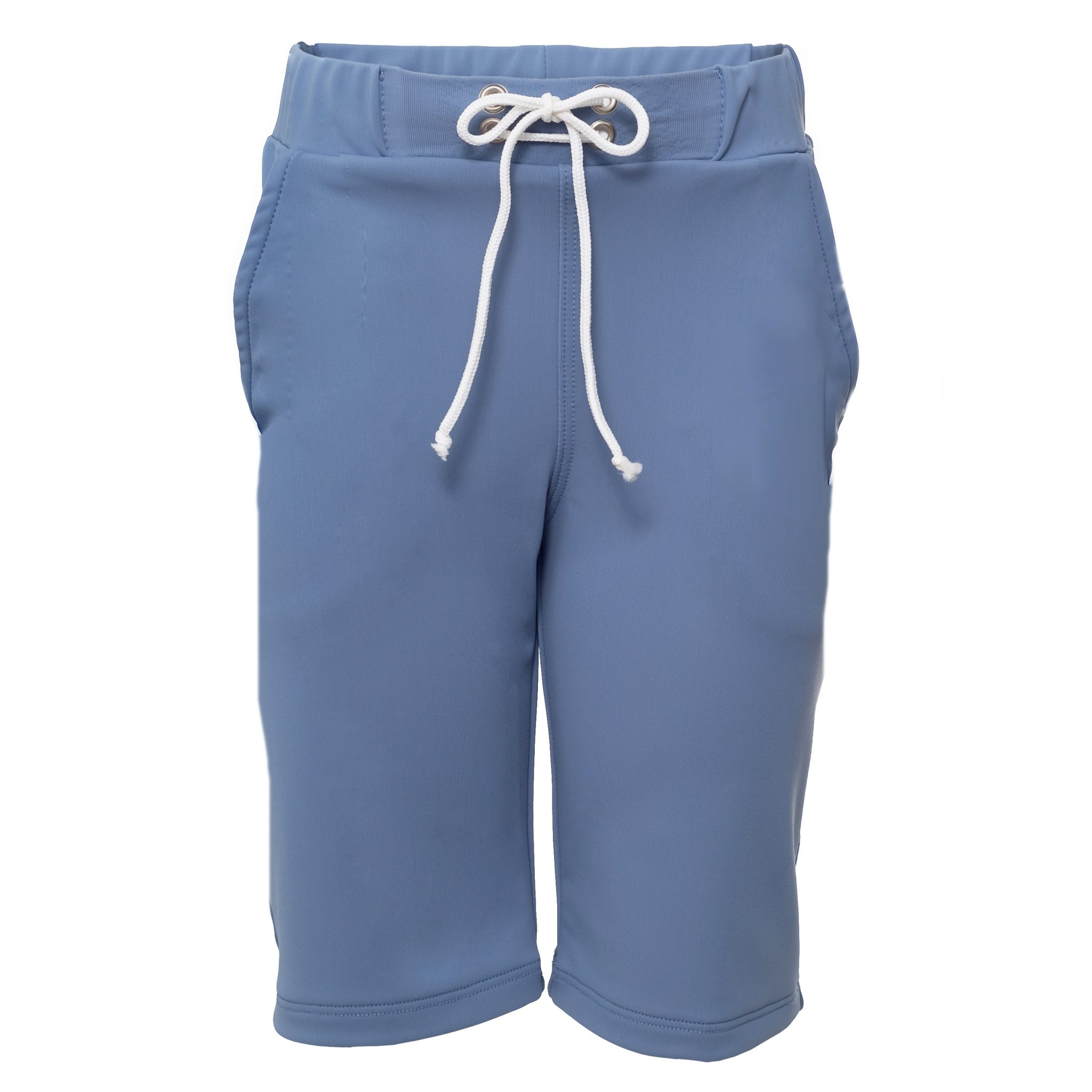 Petit Crabe petrol blue long swim trunks shorts with pockets for boys. UV sun protective swimwear for kids.