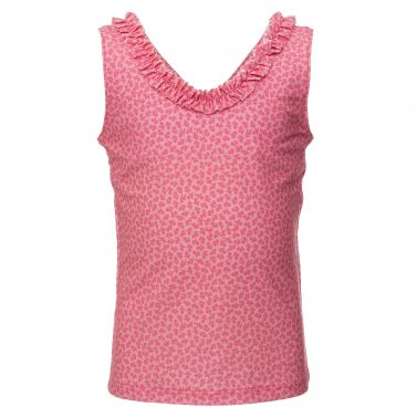 Petit Crabe pink flower Olivia Tankini with cute ruffles for girls, sun protective swimwear