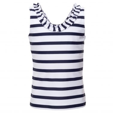 Petit Crabe cute white and blue stribed Olivia tankini with ruffles for tweens, sun protective clothing