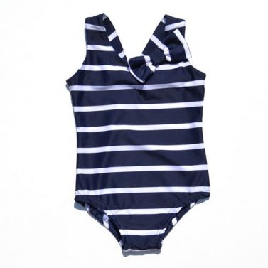 Petit Crabe classic blue and white striped Elise Swimsuit with cute bow, sun protective