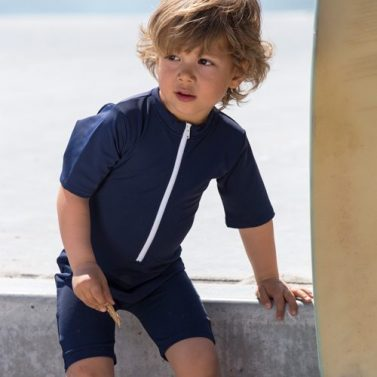 Petit Crabe blue Noe star sunsuit for kids, boy in sun protective clothing