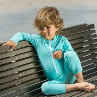 Petit Crabe turquoise long sleeve and zipper, UV sunsuit for kids. UPF 50+ swimwear.