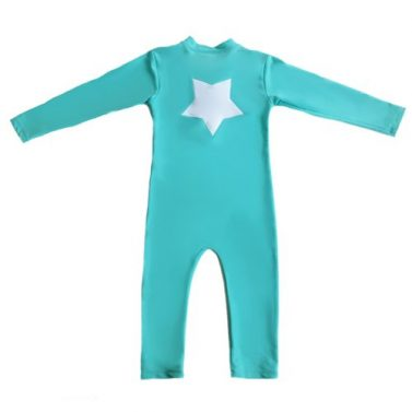 Petit Crabe turquoise UV sunsuit for kids, with long sleeves and star application. UPF 50+ swimwear.