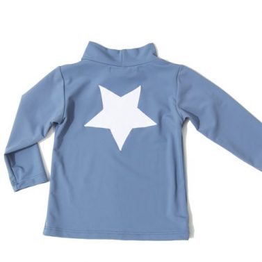 Petit Crabe grey Casey STAR swim shirt with long sleeves, sun protective swimwear for children.