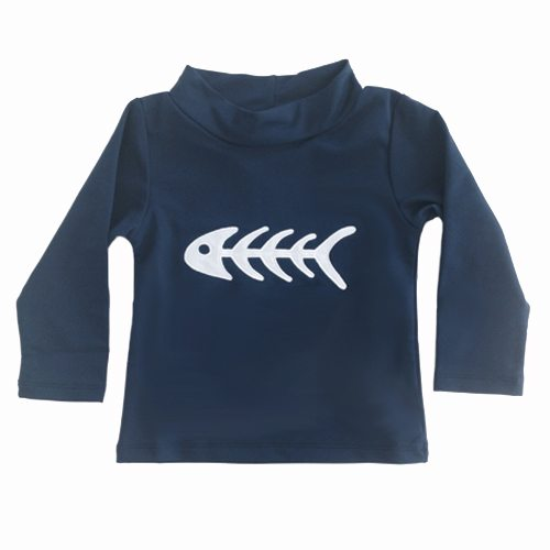 Petit Crabe blue Casey FISHBONE rash guard with long sleeves, uv sun protective clothing for kids.
