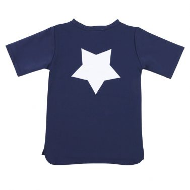 Petit Crabe blue Hugo STAR rash guard for kids, sun protective swimwear.