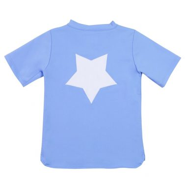 Petit Crabe sky blue Hugo rash guard with star application on the back. UV sun protective swimwear for kids.