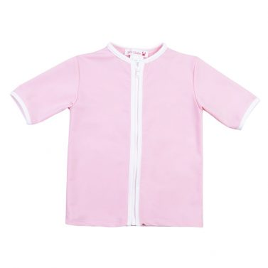 Petit Crabe soft rose Salo rash guard with zipper for girls. UV sun protective swimwear for kids.