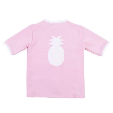 Petit Crabe soft rose Salo rash guard with pineapple application on the back. UV sun protective swimwear for kids.