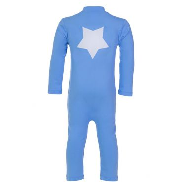 Petit Crabe sky blue UV sunsuit for boys, with long sleeves and star application. UPF 50+ swimwear.