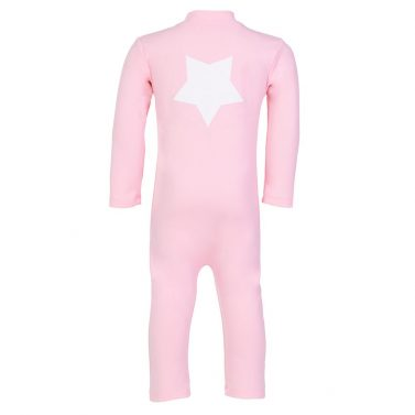 Petit Crabe soft rose UV sunsuit for girls, with long sleeves and star application. UPF 50+ swimwear.