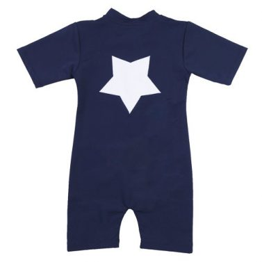 Petit Crabe blue Noe star sunsuit for kids, sun protective clothing