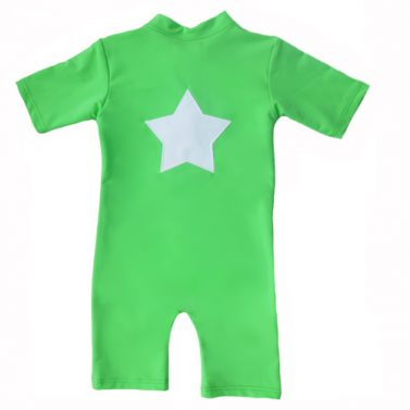 Petit Crabe Apple Green Noe star sunsuit for kids, sun protective clothing