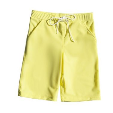 Petit Crabe long yellow Bermuda shorts with pockets, uv sun protective swimwear for kids.